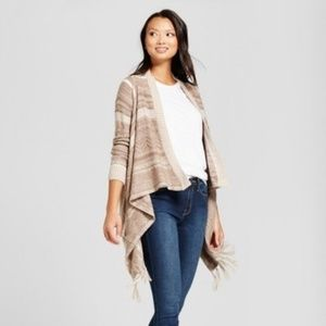 Open-Front Cardigan Striped and Fringed